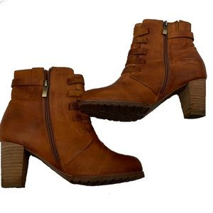 Anthropology Antelope LeatherBlock Heel Ankle Boot